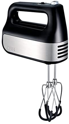 KRUPS GN492851 Hand Mixer, Electric Hand Mixer with Turbo Boost Stainless Steel Accessories, Count Down Timer, 4 servings, Black