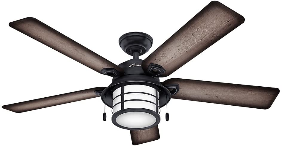 """Hunter Fan Company Hunter 59135 Nautical 54"""" Ceiling Fan from Key Biscayne Collection in Bronze/Dark Finish, Weathered Zinc"""