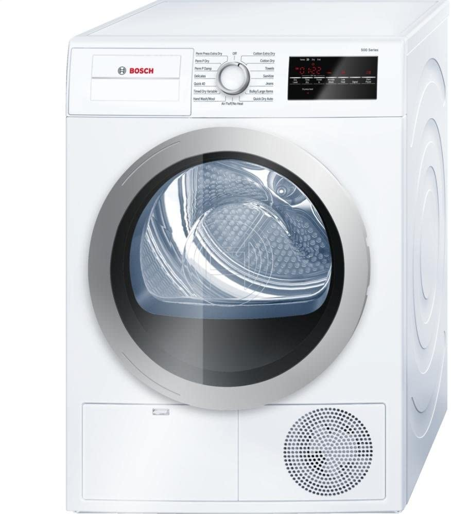 "Bosch WTG86401UC 24"" 500 Series Compact Condensation Dryer with 4.0 Cu. Ft. Capacity Stainless Steel Drum Sensitive Drying System 15 Dry Cycles 4 Temperature Settings and Large LED Display"