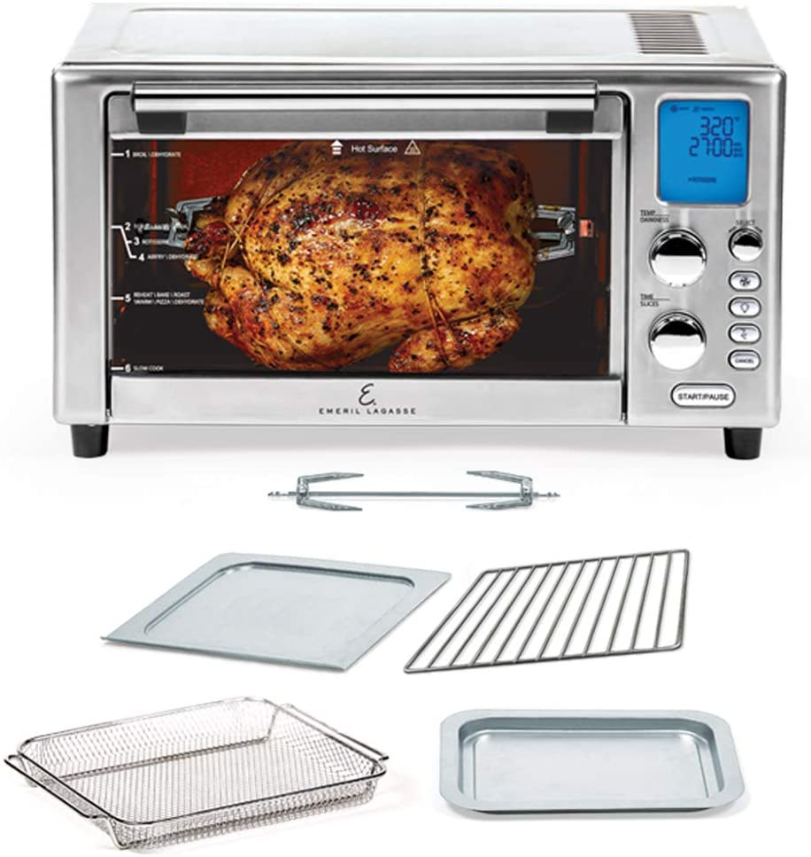 Emeril Lagasse Power Air Fryer 360 Better Than Convection Ovens Hot Air Fryer Oven, Toaster Oven, Bake, Broil, Slow Cook and More Food Dehydrator, Rotisserie Spit, Pizza Function Cookbook Included Stainless Steel