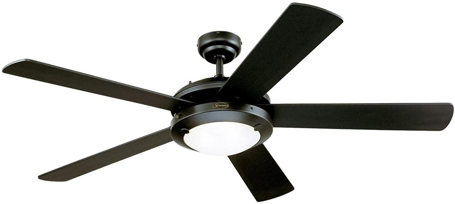 Westinghouse Lighting 7801665 Comet 52-Inch Matte Black Indoor Ceiling Fan, Light Kit with Frosted Glass
